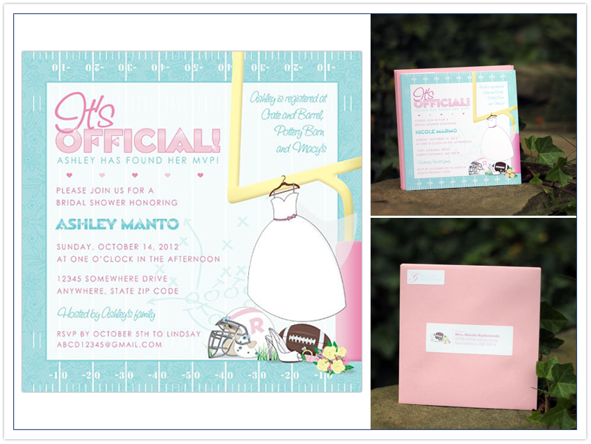 invitation mvp football bridal shower invitation